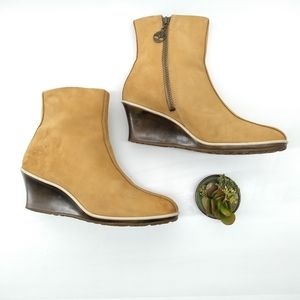 Timberland Leather Ankle Boots w/ Logo Zipper